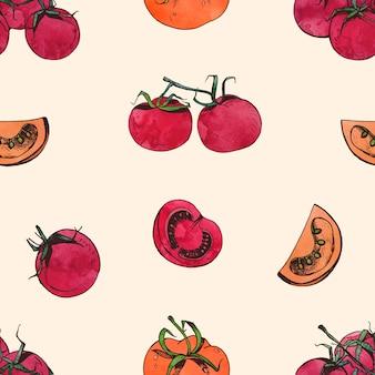 明るい背景にスライスした全体の赤いトマトと自然のシームレスなパターン。健康的な新鮮な生のベジタリアン料理の背景。布印刷、包装紙、壁紙のイラスト