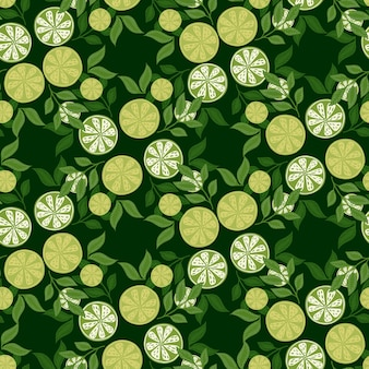 Natural seamless pattern with summer time line slices print. green colors. leaves elements. floral print. graphic design for wrapping paper and fabric textures. vector illustration.