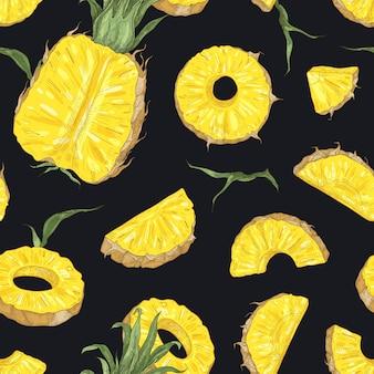 Естественный бесшовный образец с целыми и нарезанными свежими ананасами