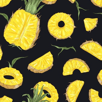 Natural seamless pattern with whole and cut fresh pineapples