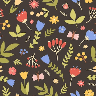 黒に野生の咲く植物と自然なシームレスパターン