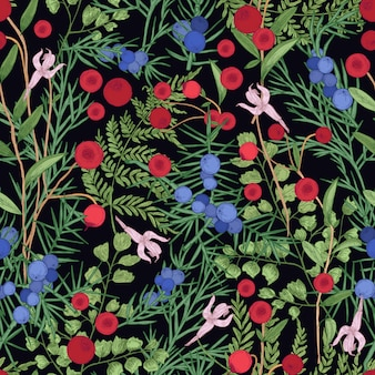 Natural seamless pattern with wild cranberry, juniper sprigs and fern on black background.