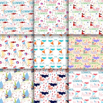 Natural seamless patterns summer mood flat backgrounds