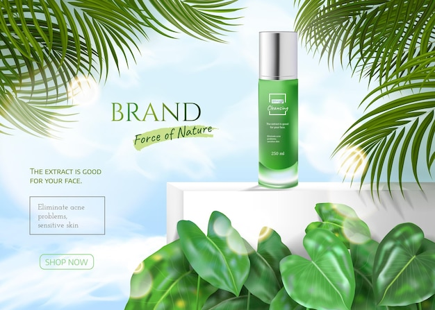 Natural skin care products in green with tropical summer leaves and effect bokeh and cloud blue sky