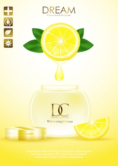 Natural skin care products with leaves and lemon