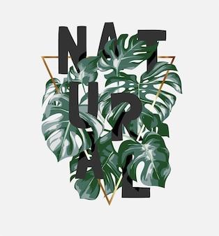 ヤシの葉と金の三角形のフレームのイラストに隠された自然なスローガン