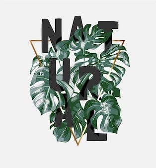Natural slogan hidden in palm leafs and gold triangle frame illustration