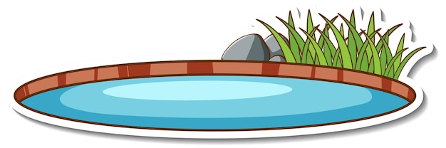 A natural small pond sticker isolated