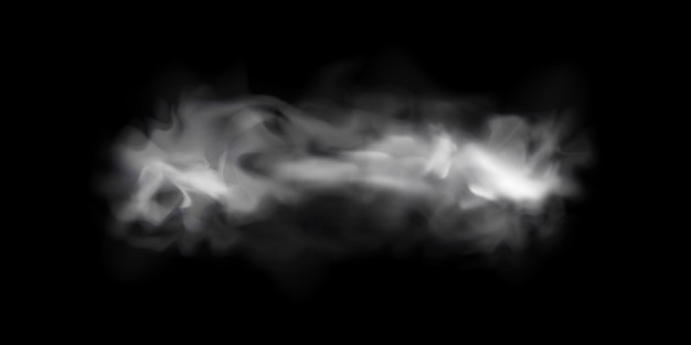 Natural smoke or fog effect on a black transparent background.  smoke or fog. isolated. .