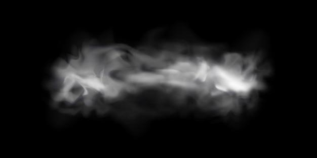 Естественный эффект дыма или тумана на черном прозрачном фоне. дым или туман. изолированный. .