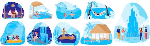 Набор природных спа-курортов векторные иллюстрации.
