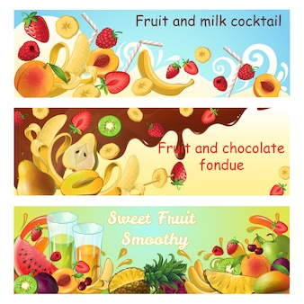 Natural sweet products horizontal banners with fresh organic fruits milk and chocolate splashes and flows
