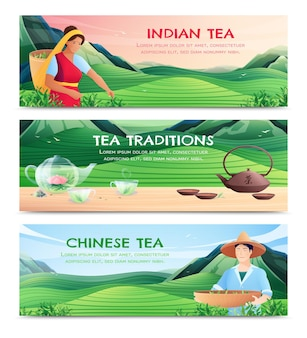 Natural tea production horizontal banners with chinese and indian varieties and tea traditions