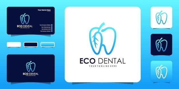 自然な歯のロゴデザインと名刺のインスピレーション