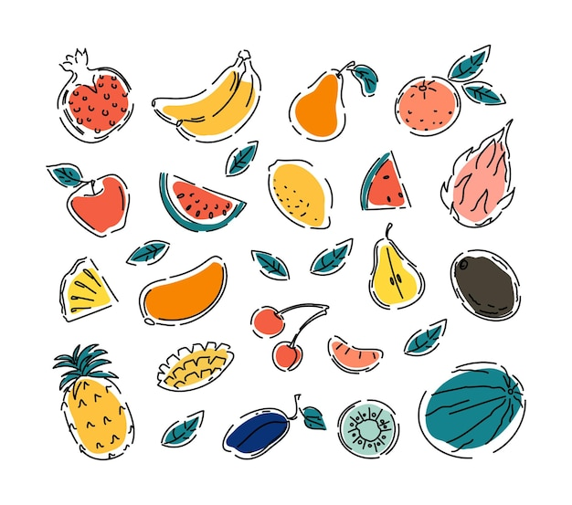 Natural tropical fruits lemon, orange, apples, pineapples doodle. vegetarian food. a set of vector isolated icons illustrations