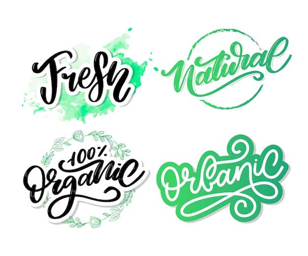 Natural vector lettering stamp illustration slogan calligraphy Premium Vector