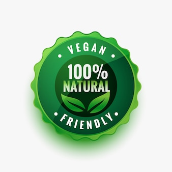 Natural vegan friendly green leaves label or sticker