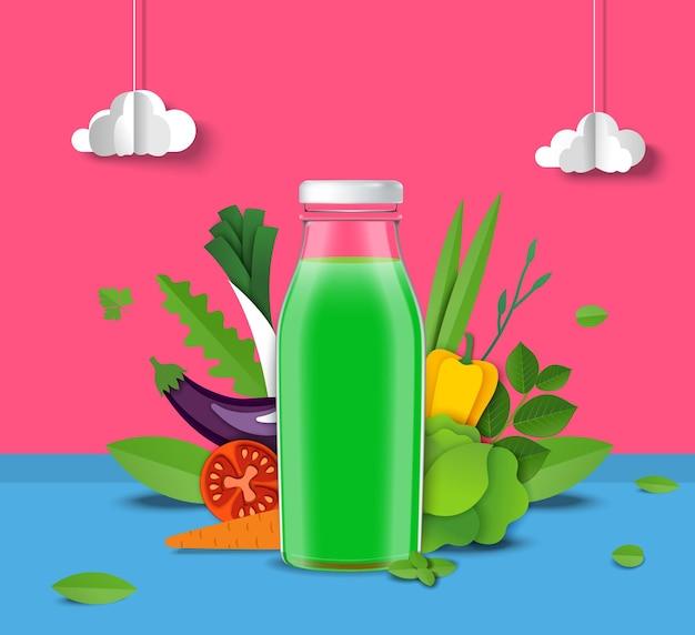 Natural vegetable juice promo poster template green juice glass bottle fresh tomato carrot celery ve...