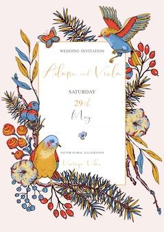 Natural vertical frame, greeting card, vintage floral bouquet with birds