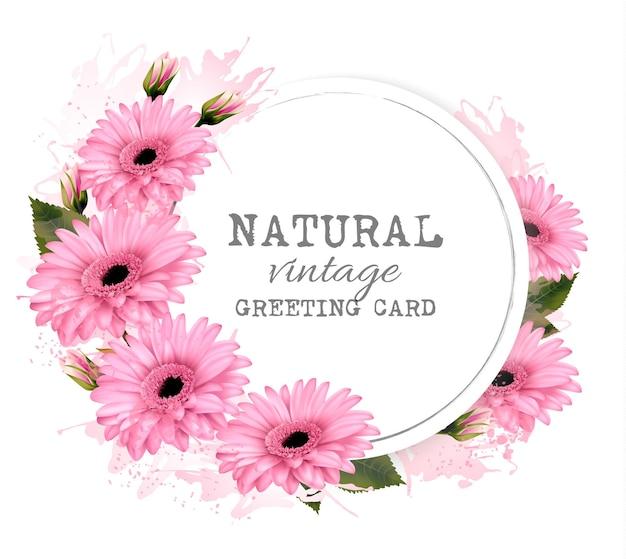ピンクの花が付いている自然なビンテージグリーティングカード。ベクター。