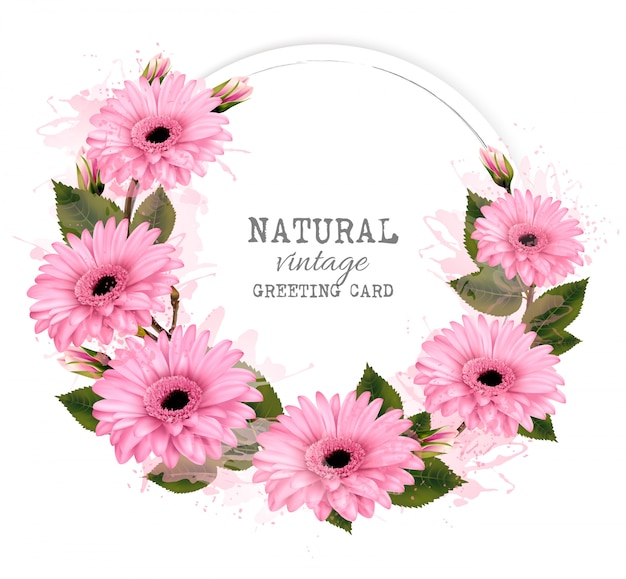 Natural vintage greeting card with pink flowers. .