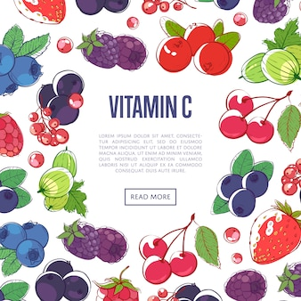 Natural vitamins banner with mixed berries