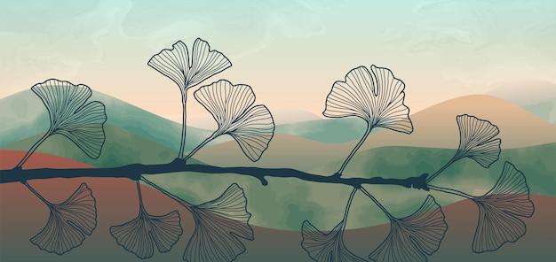 Натуральный настенный художественный баннер с веткой гинкго и акварельным рисунком для обоев веб-баннера