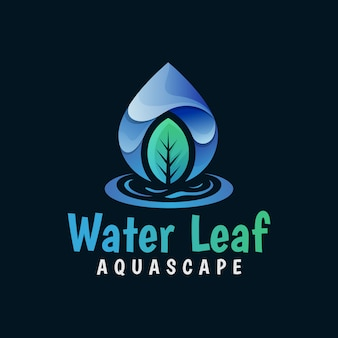 Natural water leaf, water drop logo, fresh leaves gradient logo vector template