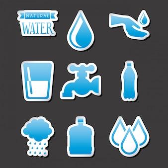 Природные воды на черном фоне векторные иллюстрации