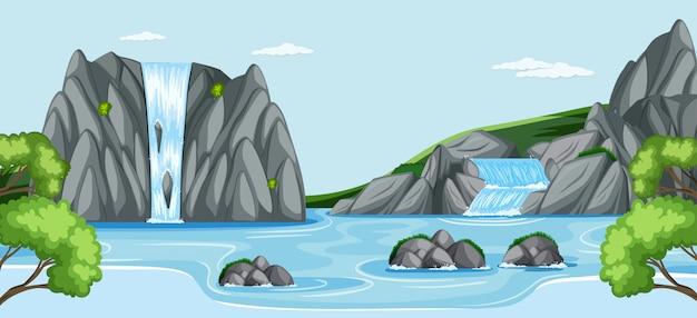 自然の滝の屋外シーン