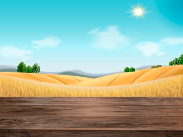 Natural wheat filed background illustration