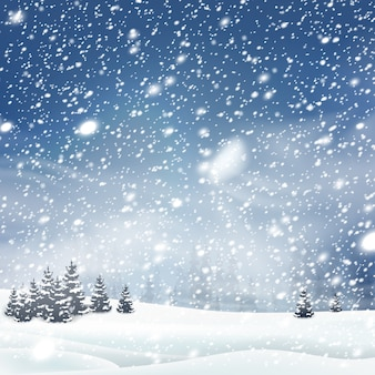 Natural winter christmas tree background with blue sky, heavy snowfall, snowflakes in different shapes and forms, snowdrifts. winter landscape with falling christmas shining beautiful snow.
