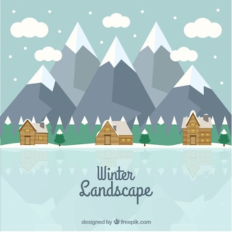 Natural winter landscape background