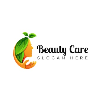 Natural woman beauty care with hand logo