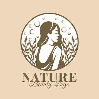 Естественная женщина красоты логотип шаблон