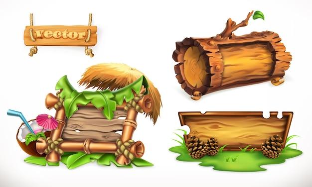 Иллюстрация набора натуральных деревянных плакатов