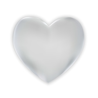 Naturalistic colorful 3d silver heart on a white.