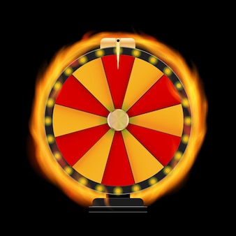 Naturalistic fire wheel of fortune, lucky icon with place for text. vector illustration eps10