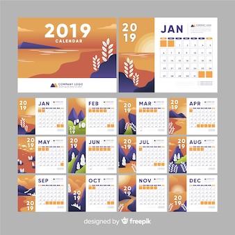 Nature 2019 calendar template