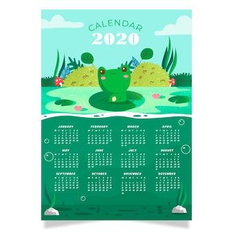 Шаблон календаря природа 2020
