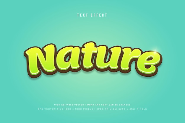 Nature 3d text effect on green background