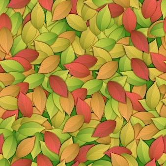 Nature abstract colorful seamless pattern with autumn leaves