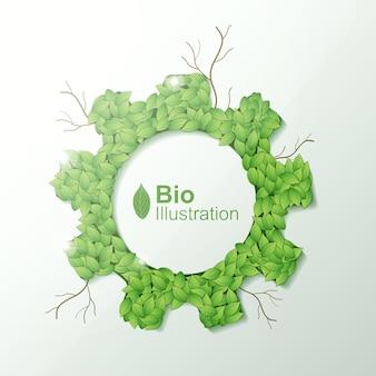 Natura astratta concetto di eco con cornice di foglie verdi
