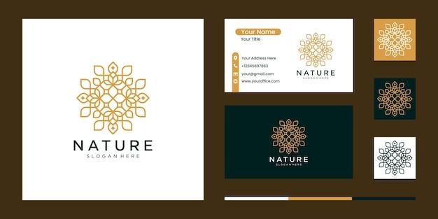 라인 아트 스타일과 명함이있는 자연 추상 럭셔리 로고