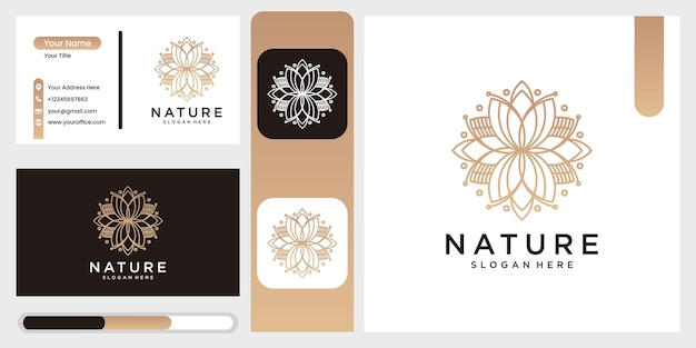 Nature abstract luxury logo with line art style and business card, flower logo circle abstract design  template. lotus spa