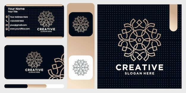 Nature abstract luxury logo with line art style and business card