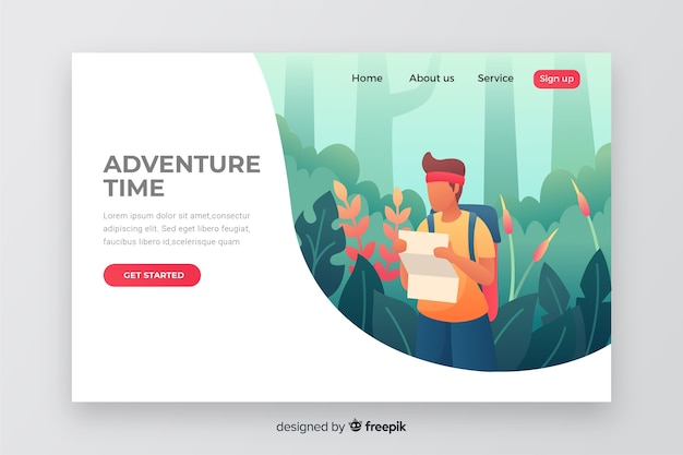 Nature adventure time landing page