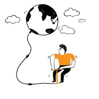 자연과 환경 개념, 지구 온난화, 보존, 젊은 환경 보호론자들은 지구와 같은 것으로 공기를 펌핑하기 위해 무언가를 사용하고 있습니다. 벡터 일러스트 레이 션 손 그리기 낙서 스타일