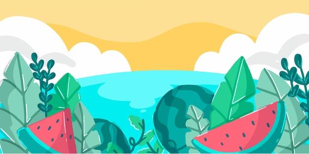 자연과 열 대 바다 배너 낙서 그림