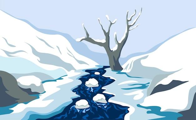 Природа и дикая природа холодного времени года, зимний пейзаж с проточной рекой или прудом со льдом и камнями. одинокое сухое дерево и холмы, горные хребты или склоны вдалеке. вектор в плоском стиле